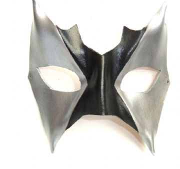 Genuine Handmade Leather Black & Silver Eye Mask
